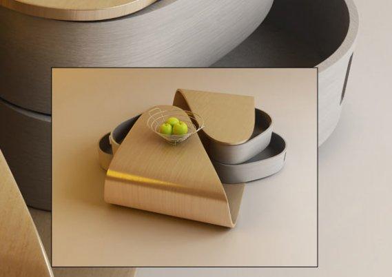 ekmeceli-Modern-Orta-Sehpa Döner Çekmeceli Modern Kavisli Sehpa Tasarımı
