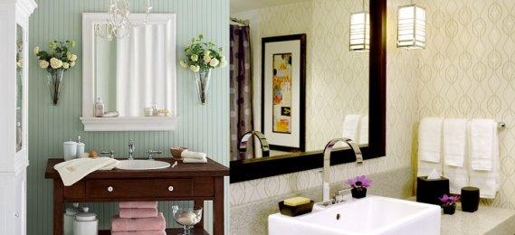 Şık Banyo Duvar Kağıdı Modeli