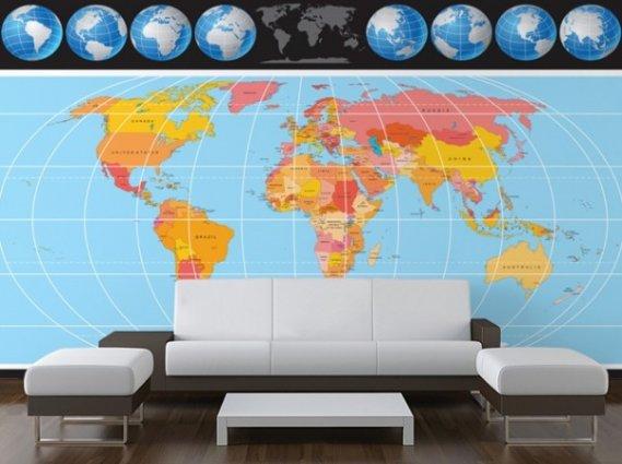 Şık Harita Desenli Duvar Kağıdı