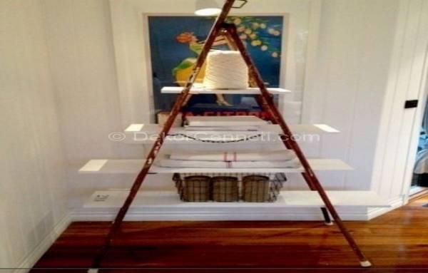 cool-eski-merdivenler-ile-dekoratif-raf-eski-mutfak-esyalari-icin-ikinci-sansi-verin-23 Eski mutfak eşyaları için ikinci şansı verin