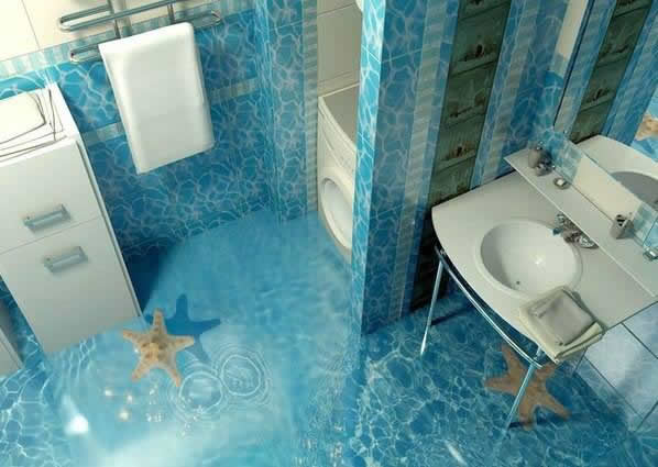 3-Boyutlu-Sıradışı-Banyo-Zemin-Kaplamaları Sıradışı Zemin Kaplamaları