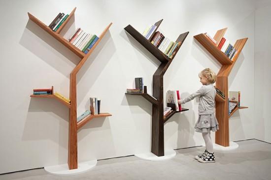 Ağaç-Şeklinde-Farklı-Duvar-Kitaplığı Farklı ve İlginç Kitaplık Tasarımları
