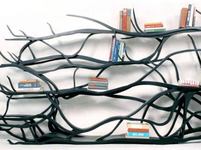 Ağaç-Dallarından-Farklı-Kitaplık-Modeli Farklı ve İlginç Kitaplık Tasarımları