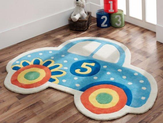 Araba-görünümlü-çocuk-odası-halı-modeli Çocuk Odası Halıları