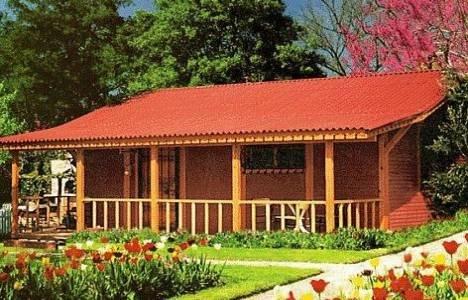 Bahçe-İçinde-Ahşap-Bungalov-Evler Bungalov Evler