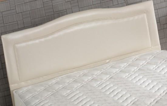 Beyaz-Parlak-Deri-Yatak-Başlık-Tasarımı Deri Yatak Başlık Modelleri