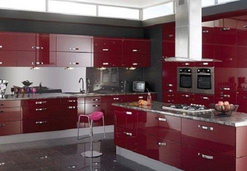 Bordo-Krem-Mutfak-Dolabı-Modelleri Bordo Krem Mutfak Dolapları