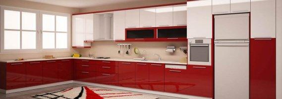 Bordo-Krem-Mutfak-Tasarımı Bordo Krem Mutfak Dolapları