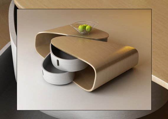 Döner-Çekmeceli-Modern-Sehpa Döner Çekmeceli Modern Kavisli Sehpa Tasarımı
