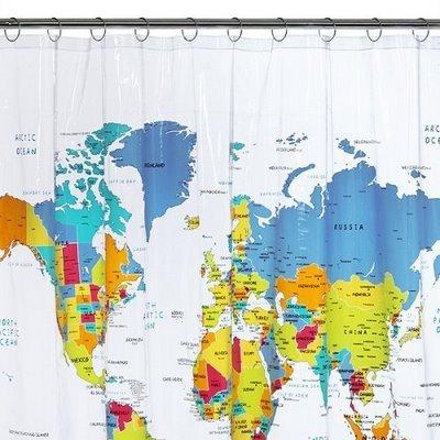 Dünya-Haritası-Şeklinde-Banyo-Duş-Perdesi Duş Perde Modelleri