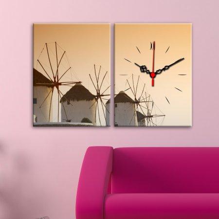 Değirmen-Desenli-2-Parça-Canvas-Duvar-Saati Canvas Duvar Saati Modelleri