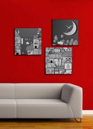 Dekoratif-Kare-Canvas-Duvar-Saati Canvas Duvar Saati Modelleri