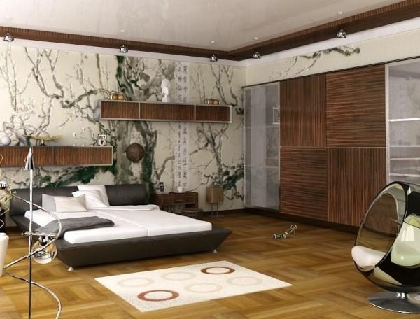 Deri-Kahverengi-Japon-Tarzı-Yatak-Odası Japon Tarzı Yatak Odaları