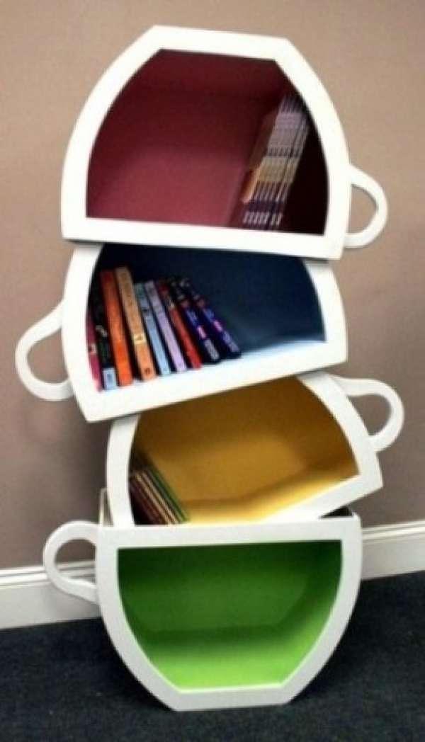 Fincan-Görünümlü-İlginç-Kitaplıklar Farklı ve İlginç Kitaplık Tasarımları