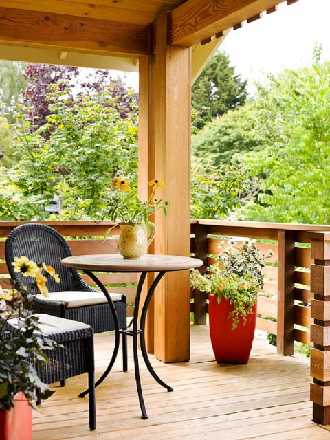 Küçük-Balkon-Rustik-Dekorasyonu Balkonlarda Rustik Dekorasyon Fikirleri