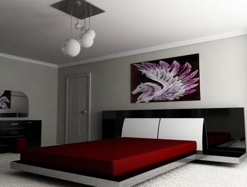 Kırmızı-Japon-Tarzı-Yatak-Odası-Örneği Japon Tarzı Yatak Odaları