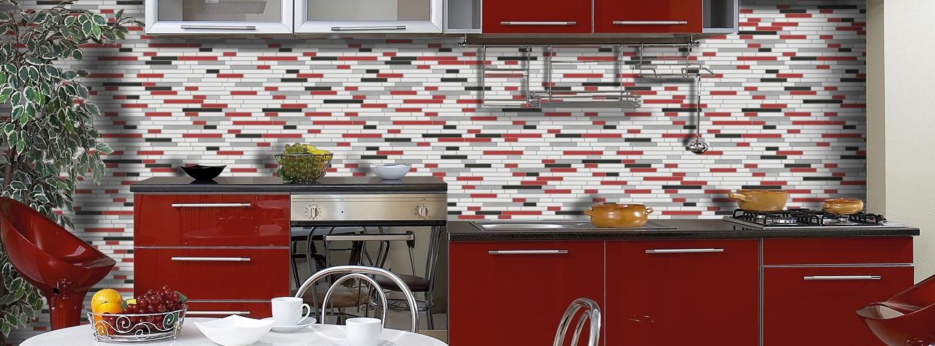 Kırmızı-Mutfak-Uzun-Cam-Mozaik-Modeli Mutfak Cam Mozaik Modelleri
