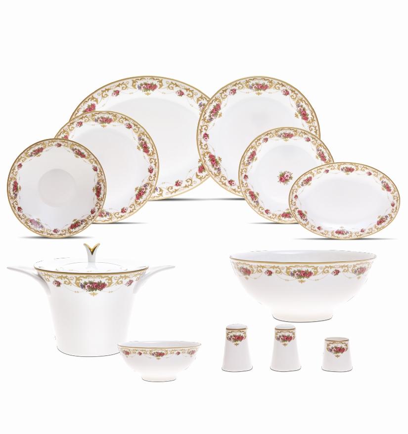 Karaca-Porselen-Yemek-Takımı-Modelleri-rose-garden-fine-bone-84-parca- Karaca Porselen Yemek Takımı Modelleri