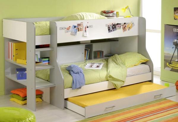 Kitaplıklı 3 Yataklı Ranza Modeli