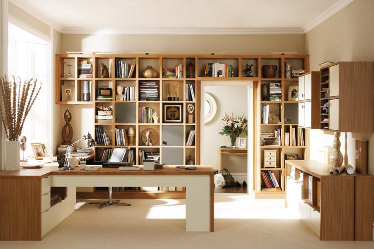 Kitaplıklı-Home-Ofis-Mobilya-Tasarımı Home Ofis Mobilya Modelleri Örnekleri