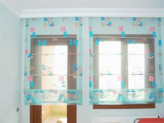 Mavi-Bebek-Odası-Tül-Perdesi Bebek Odası Perde Modelleri