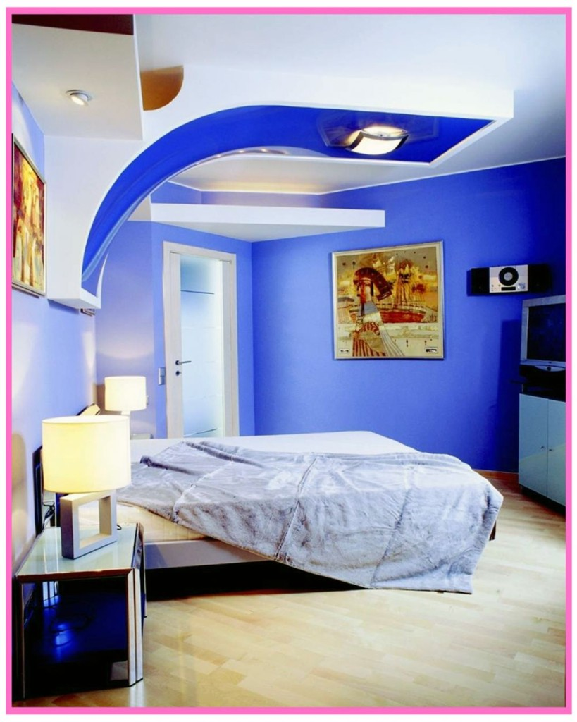 Mavi-Genç-Odası-Asma-Tavan-Modeli Genç Odası Asma Tavan Modelleri