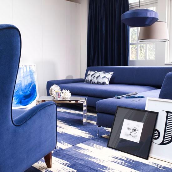Evler İçin Mavi Salon Dekorasyonları