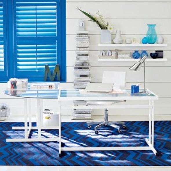 Mavi-Tonlarda-Çalışma-Köşesi-Mobilya-Örneği Evlerde Çalışma Köşesi Mobilyaları