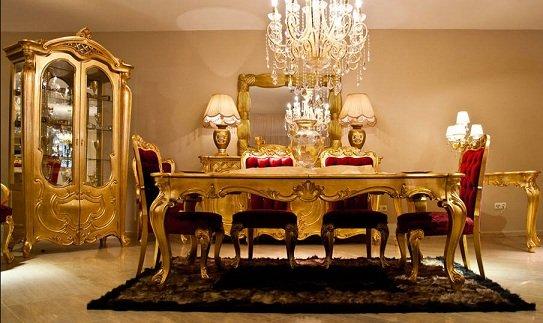 Oymalı-Altın-Renkli-Yemek-Odası-Tasarımı Altın Rengi ile Yaratabileceğiniz Dekoratiflikler