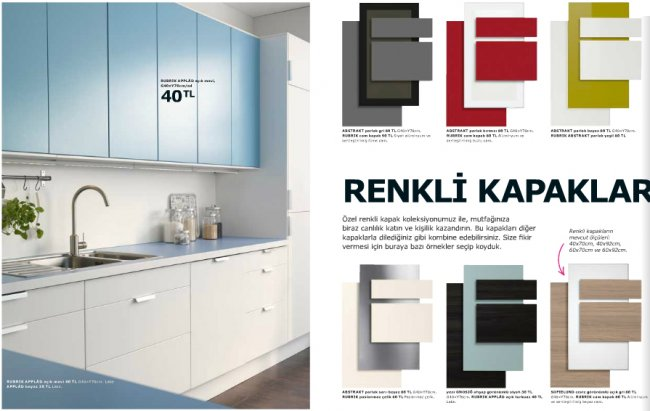 Renkli-Ikea-Mutfak-Dolap-Kapakları Ikea Mutfak Dolapları