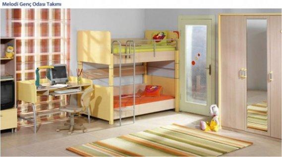 Sarı-ranzalı-çocuk-odası-dizaynı Ranzalı Çocuk ve Genç Odası Takımları