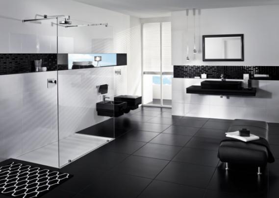 Siyah Beyaz Banyo Fayans Örneği