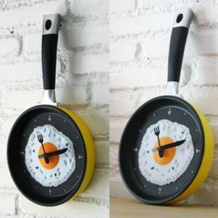 Tava-Şeklinde-Mutfak-Saati Modern Mutfak Saati Modelleri
