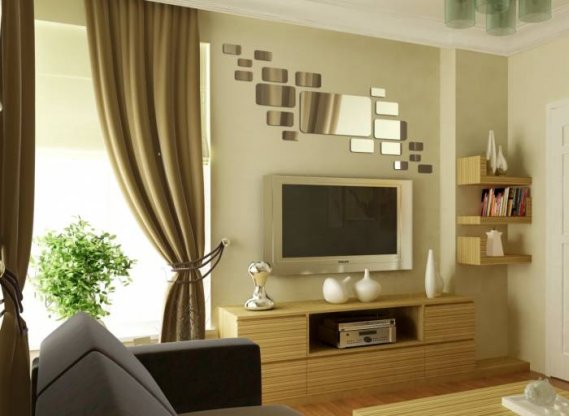 Televizyon-üstü-salon-dekoratif-ayna Salon Ayna Modelleri