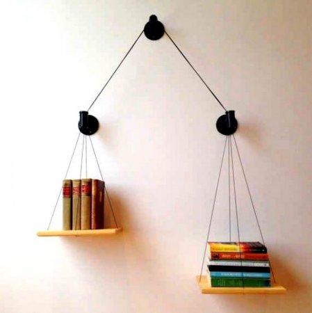 Terazi-Şeklinde-İlginç-Kitaplık-Rafı İlginç Raf Tasarımları
