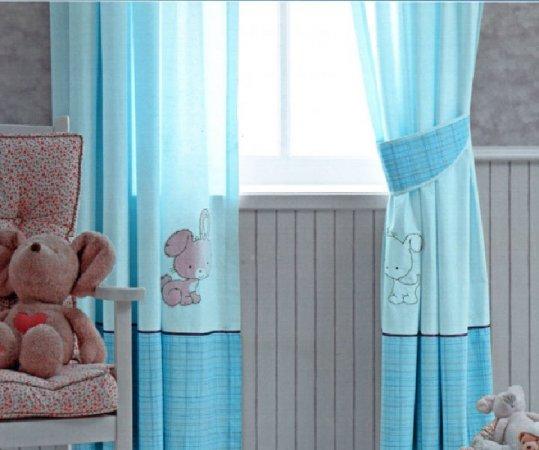 Turkuaz-Bebek-Odası-Perde-Modeli Bebek Odası Perde Modelleri