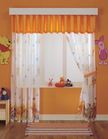 Turuncu-Beyaz-Bebek-Odası-Perdesi Bebek Odası Perde Modelleri