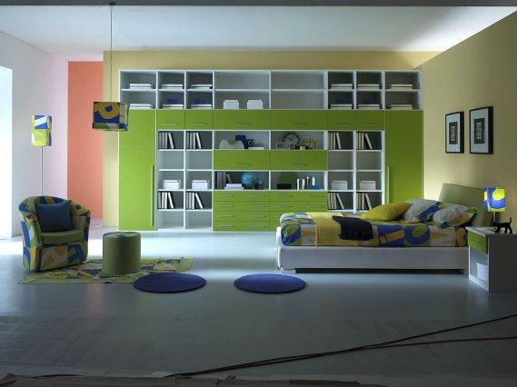 Yeşil-şık-genç-odası-modeli İlginç Genç Odaları