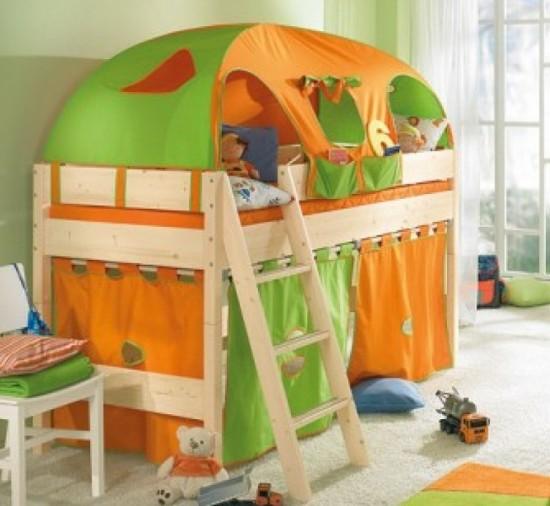 Yeşil-Turuncu-Çadırlı-Ranza-Modeli Yeni Trend Çadırlı Ranza Modelleri