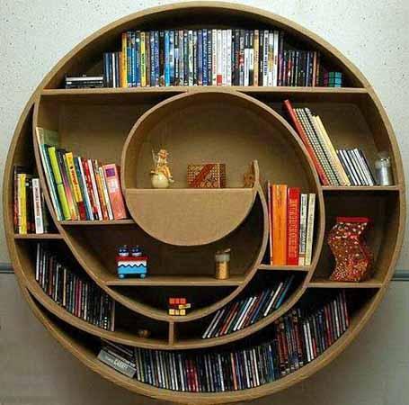 Yuvarlık-İlginç-Kitaplık-Tasarımı Farklı ve İlginç Kitaplık Tasarımları