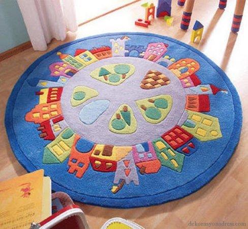 Yuvarlak-Çocuk-Odası-Halı-Modelleri Çocuk Odası Halı Modelleri