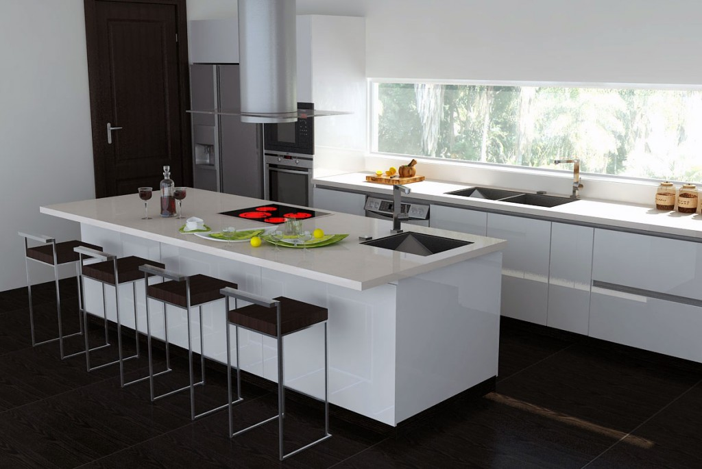beyaz-ada-mutfak-modelleri Ada tipi modern mutfak modelleri 2017