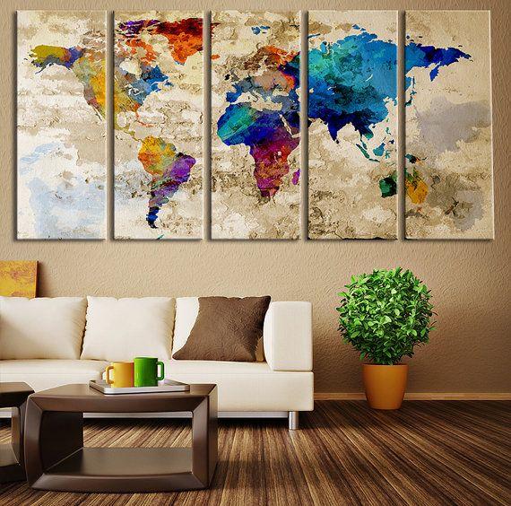 dunya-haritasi-kanvas-tablo Boş Duvar Dekorasyonu Nasıl Yapılır