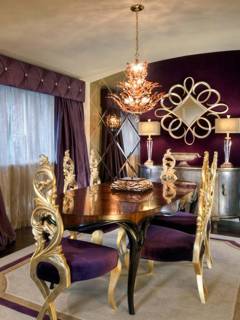 farkli-mor-renk-yemek-odasi-dekorasyonlari.jpeg Mor Yemek Odası Dekorasyonu Nasıl Yapılır