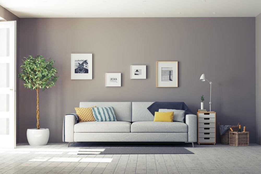 gri renk oturma odası dekorasyonu