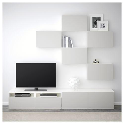 ikea-tv-ünitesi-2018-beyaz-açık-gri IKEA 2018 TV Ünitesi Modelleri