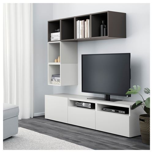 ikea-tv-ünitesi-2018-beyaz-koyu-gri IKEA 2018 TV Ünitesi Modelleri