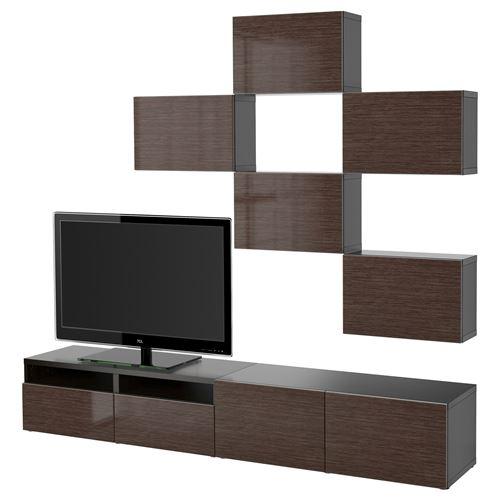 ikea-tv-ünitesi-2018-venge-parlak-kahverengi-çıt-çıt-ray IKEA 2018 TV Ünitesi Modelleri