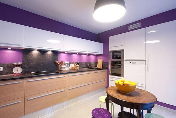 lila-mutfak-duvar-boyasi-ornekleri Lila Mutfak Modelleri