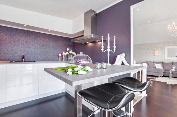 lila-renk-amerikan-mutfak-dekorasyonlari Lila Mutfak Modelleri